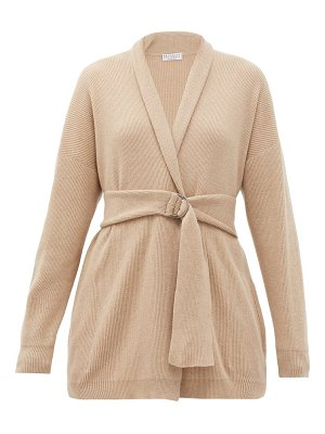 Brunello Cucinelli belted rib-knitted cashmere cardigan
