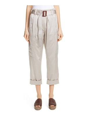 Brunello Cucinelli belted satin cargo pants