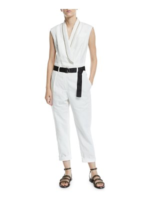 Brunello Cucinelli Belted Sequined-Lapel Linen-Cotton Jumpsuit