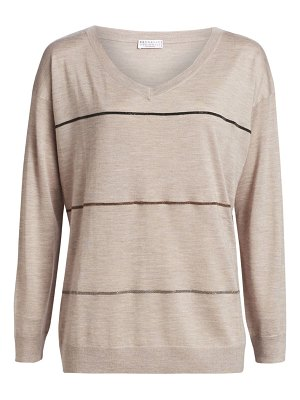 Brunello Cucinelli cashmere silk long sleeve v-neck sweater