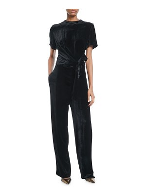 Brunello Cucinelli Crewneck Short-Sleeve Liquid-Velvet Straight-Leg Jumpsuit