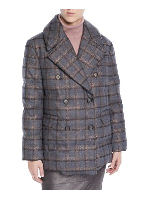 Brunello Cucinelli Double-Breasted Metallic-Plaid Puffer Jacket