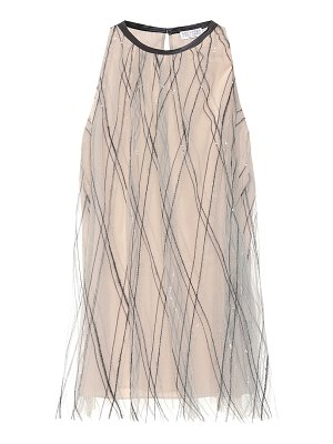 Brunello Cucinelli embroidered tulle top