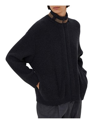 Brunello Cucinelli english rib zip up cardigan