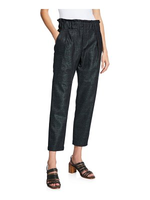 Brunello Cucinelli High-Rise Shimmered Plaid Cropped Pants