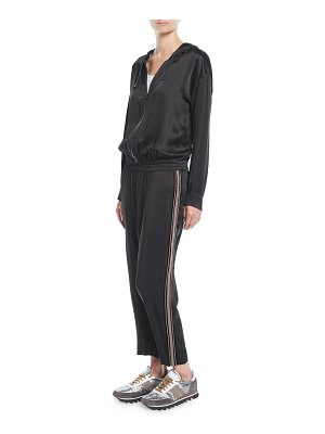 Brunello Cucinelli Hooded Satin Track Jumpsuit w/ Monili Racing Stripe