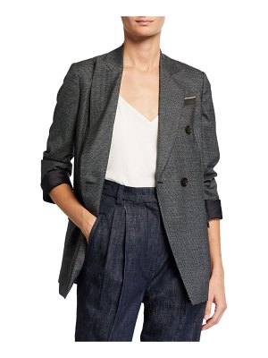 Brunello Cucinelli Houndstooth Double-Breasted Jacket