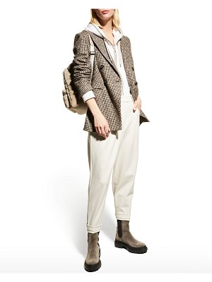 Brunello Cucinelli Houndstooth Tweed Double-Breasted Jacket