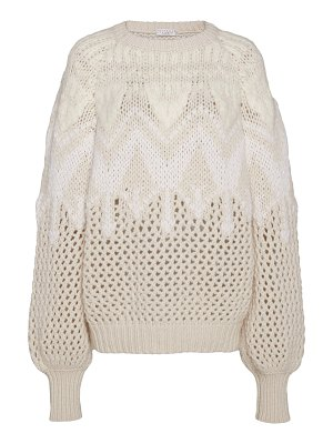 Brunello Cucinelli intarsia-knit cashmere and silk-blend sweater size: