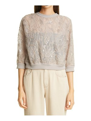 Brunello Cucinelli layered embroidered silk tulle top
