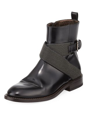 Brunello Cucinelli Leather Moto Booties with Monili Straps
