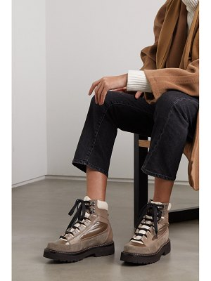 Brunello Cucinelli leather, suede and glossed-shell ankle boots