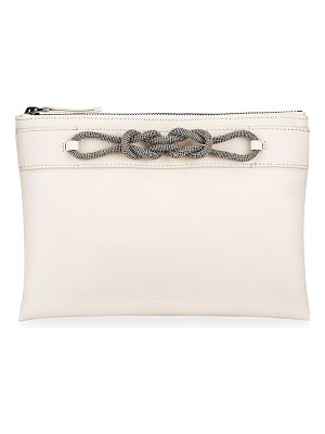 Brunello Cucinelli Leather Zip Clutch Bag with Monili Knot