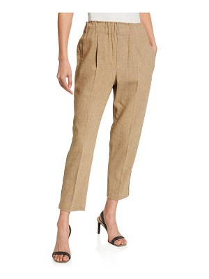 Brunello Cucinelli Linen Pull-On Cropped Pants