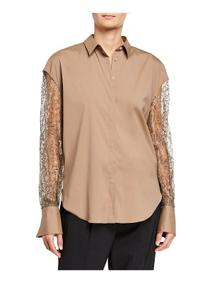 Brunello Cucinelli Metallic Lace-Sleeve Button-Down Shirt