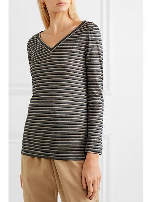 Brunello Cucinelli metallic striped linen-blend top