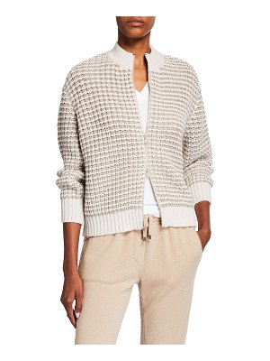 Brunello Cucinelli Metallic Striped Wool Cardigan