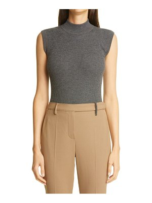 Brunello Cucinelli mock neck metallic rib sweater