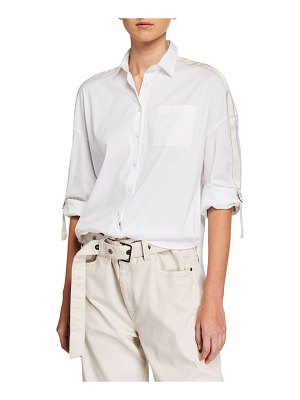 Brunello Cucinelli Monili Beaded Ribbon-Sleeve Button-Front Blouse