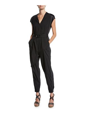 Brunello Cucinelli Monili-Beaded Satin Trim Poplin Jumpsuit