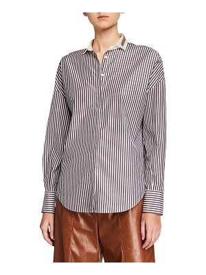 Brunello Cucinelli Monili-Collar Striped Button-Front Poplin Shirt
