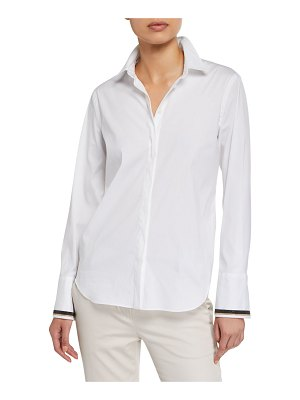 Brunello Cucinelli Monili-Cuffed Poplin Button-Front Shirt