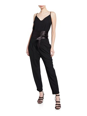 Brunello Cucinelli Monili-Strap Satin-Belted Wool Jumpsuit