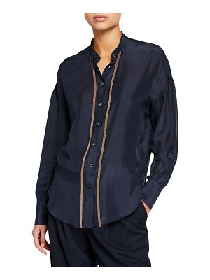 Brunello Cucinelli Monili-Striped Charmeuse Button-Front Shirt