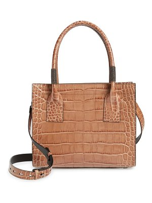 Brunello Cucinelli monili trim croc embossed leather tote