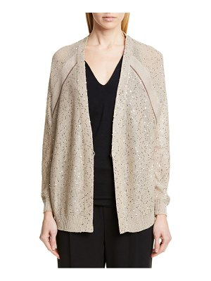 Brunello Cucinelli monili trim sequin linen & silk cardigan