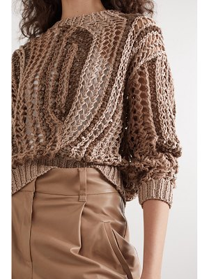 Brunello Cucinelli opera sequin-embellished open-knit cotton-blend sweater