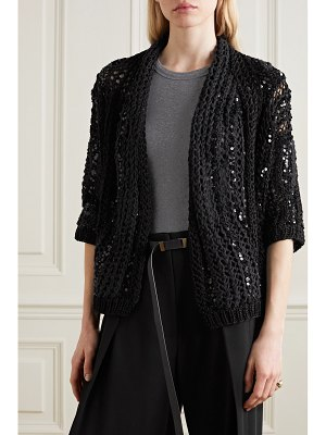 Brunello Cucinelli opera sequin-embellished open-knit cotton cardigan