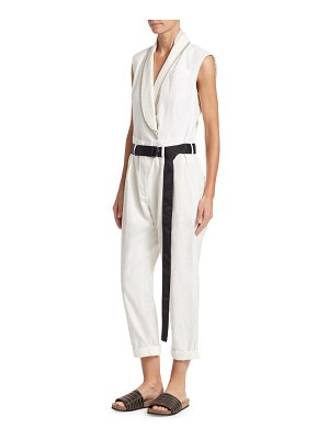 Brunello Cucinelli paillette-lapel linen cotton jumpsuit
