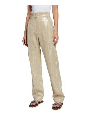 Brunello Cucinelli Paperbag Plated Linen Pants