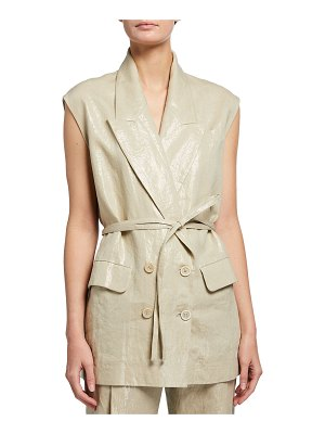 Brunello Cucinelli Plated Linen Belted Vest