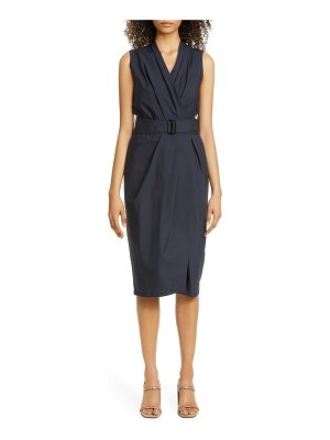 Brunello Cucinelli pleated crinkle cotton blend wrap dress