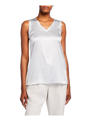 Brunello Cucinelli Reversible V-Neck Silk Tank