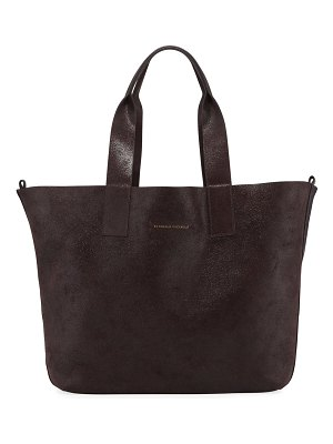 Brunello Cucinelli Reversible Wool & Buffed Leather Tote Bag