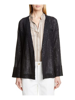 Brunello Cucinelli sequin linen & silk belted cardigan