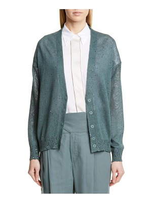 Brunello Cucinelli sequin linen & silk cardigan