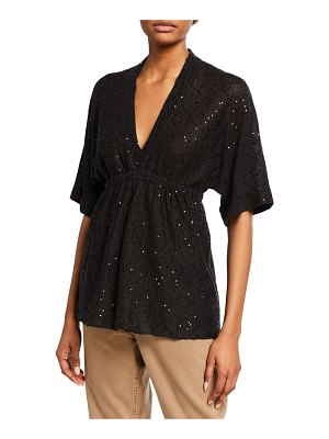 Brunello Cucinelli Sequined Linen-Silk Empire Waist Top