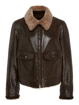 Brunello Cucinelli shearling-trimmed leather jacket size: 40