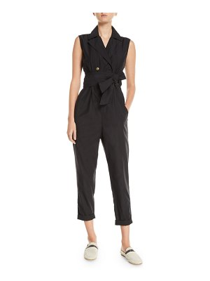 Brunello Cucinelli Sleeveless Double-Breasted Cotton-Silk Jumpsuit
