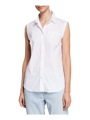 Brunello Cucinelli Sleeveless Monili-Pocket Button-Front Poplin Shirt