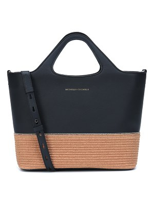 Brunello Cucinelli small leather and raffia tote