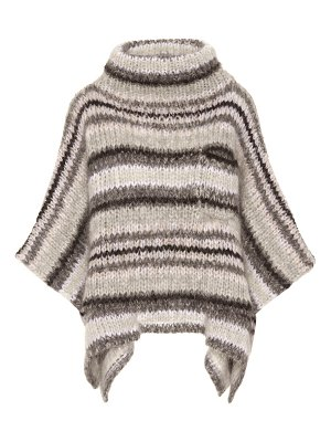 Brunello Cucinelli Striped mohair-blend poncho
