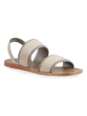 Brunello Cucinelli Suede Two Band Slingback Flat Sandals