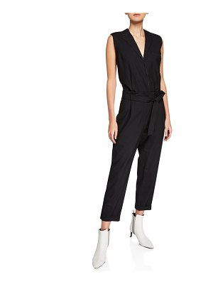 Brunello Cucinelli Tropical Wool Sleeveless Monili Beaded Jumpsuit