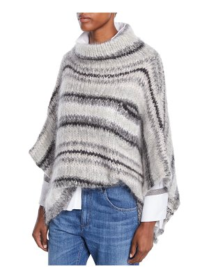 Brunello Cucinelli Turtleneck Striped Mohair-Wool Poncho