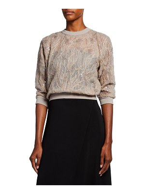 Brunello Cucinelli Two-Piece Mohair Tulle Floral Embroidered Top